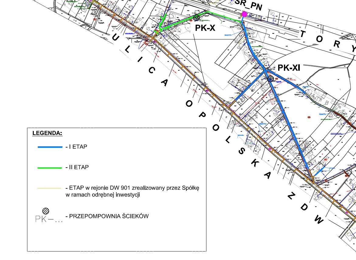 Mapa przebiegu planowanej kanalizacji 2019
